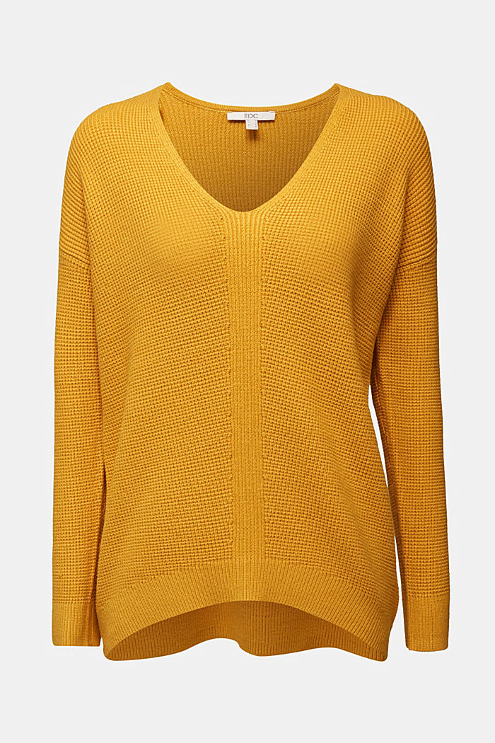 Jumper with a rice grain texture, BRASS YELLOW, detail image number 6