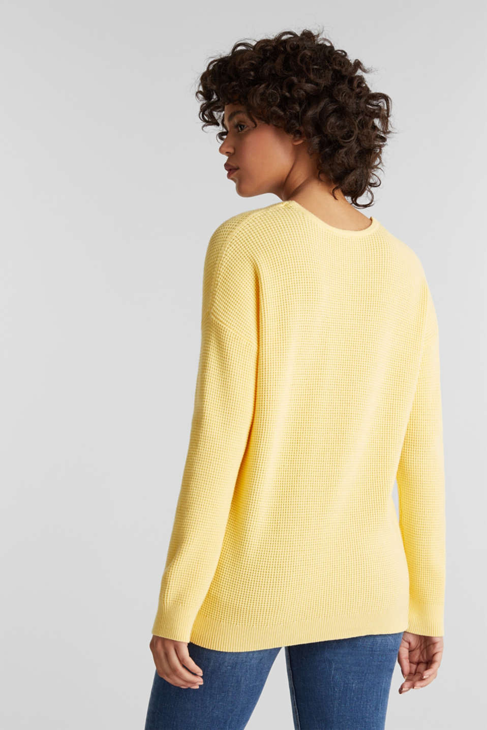Jumper with a rice grain texture, YELLOW, detail image number 3