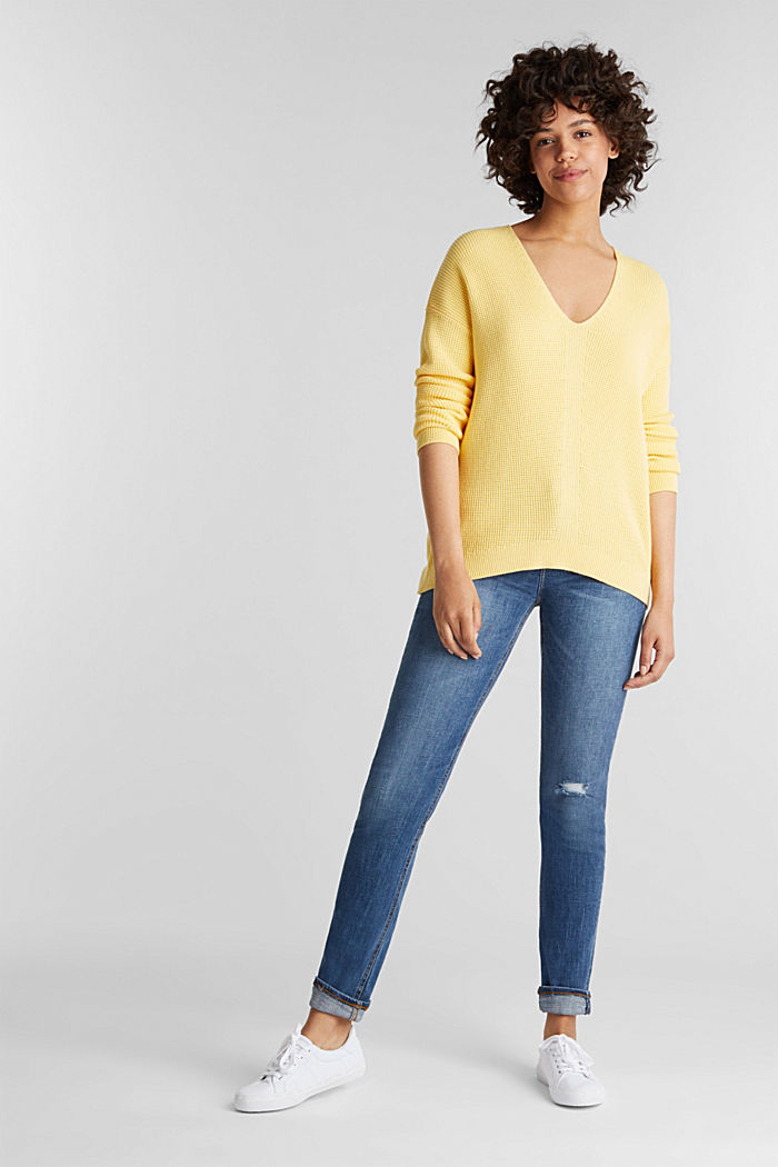 Jumper with a rice grain texture, YELLOW, detail image number 1