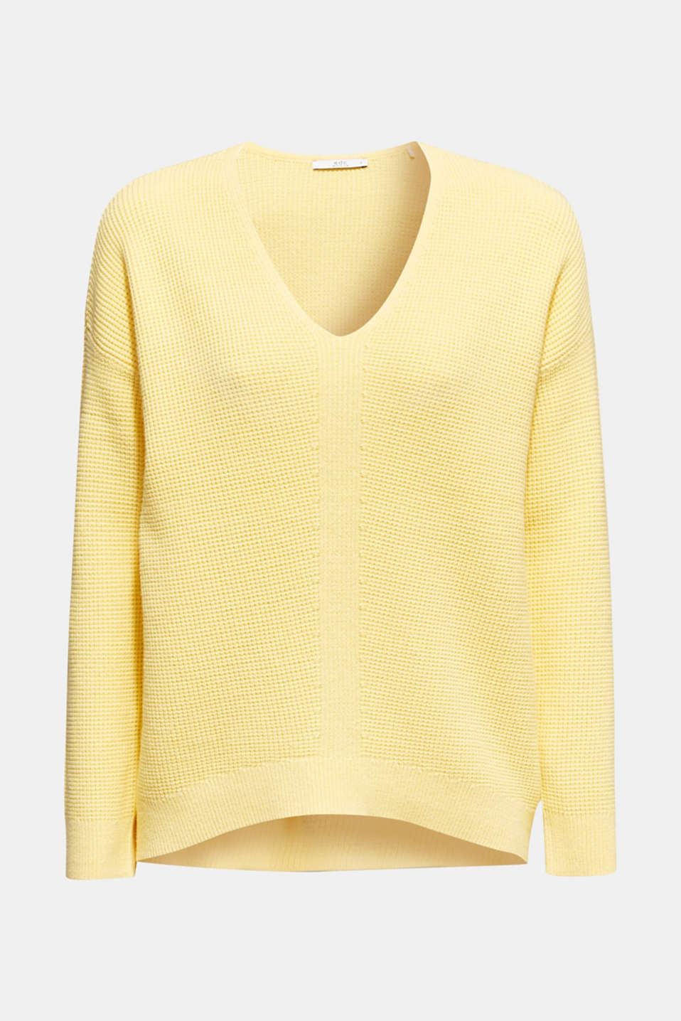 Jumper with a rice grain texture, YELLOW, detail image number 5