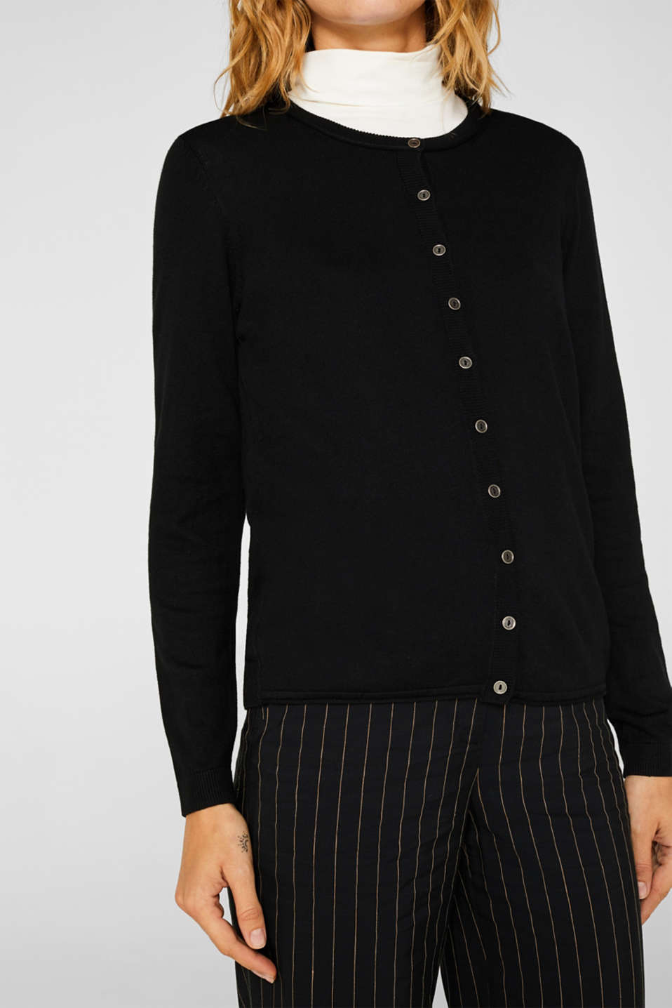 Basic fine knit cardigan, BLACK, detail image number 2
