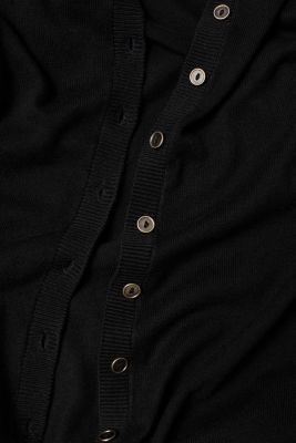 Basic fine knit cardigan, BLACK, detail