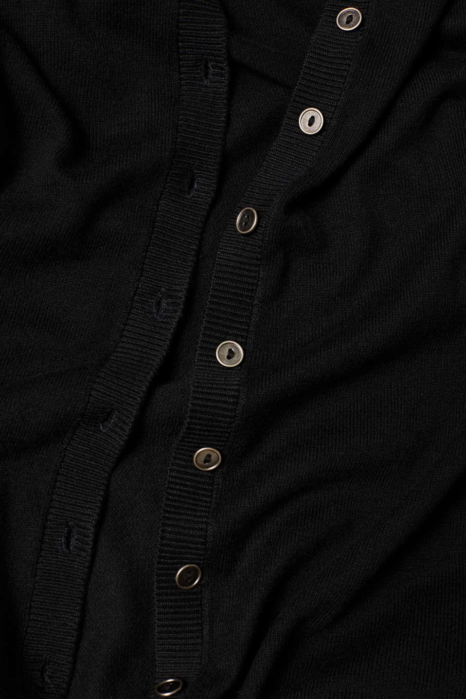 Basic fine knit cardigan, BLACK, detail image number 4