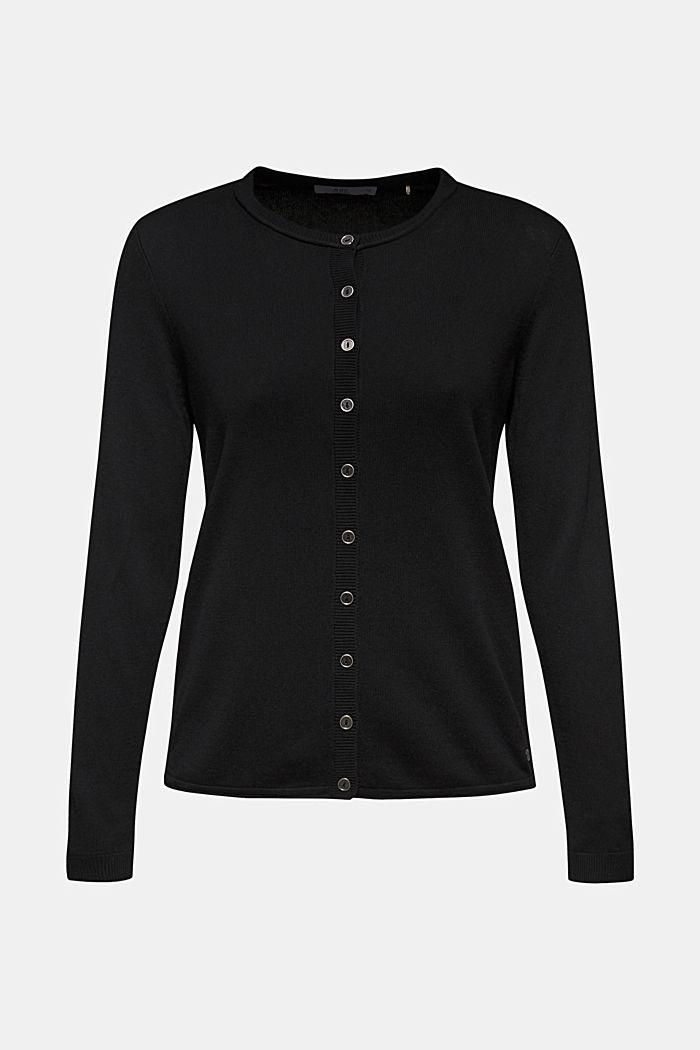 Basic fine knit cardigan, BLACK, detail image number 0