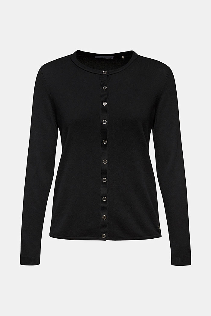 Basic vest van fijn breisel, BLACK, detail image number 0