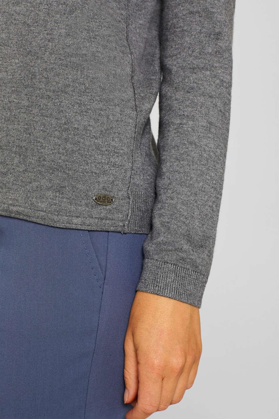 Basic fine knit cardigan, GUNMETAL 5, detail image number 2