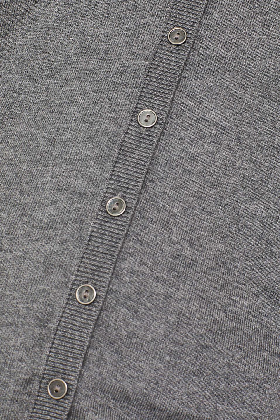 Basic fine knit cardigan, GUNMETAL 5, detail image number 4