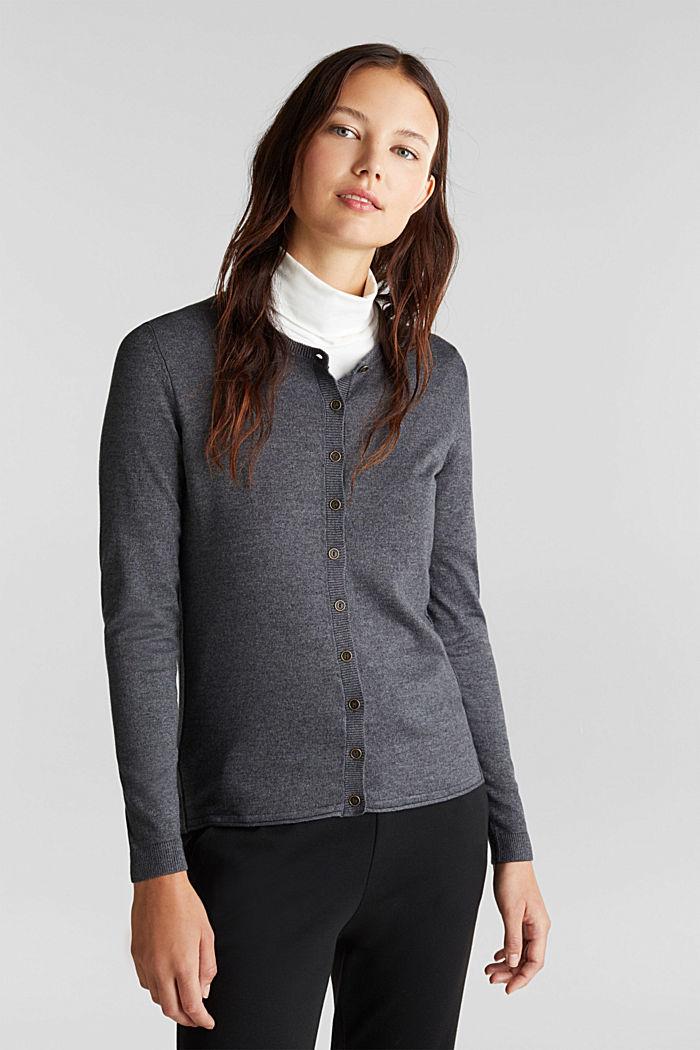 Basic fine knit cardigan, DARK GREY, detail image number 0
