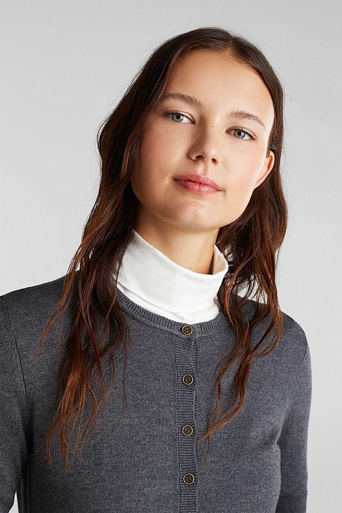 Basic fine knit cardigan, DARK GREY, detail image number 5