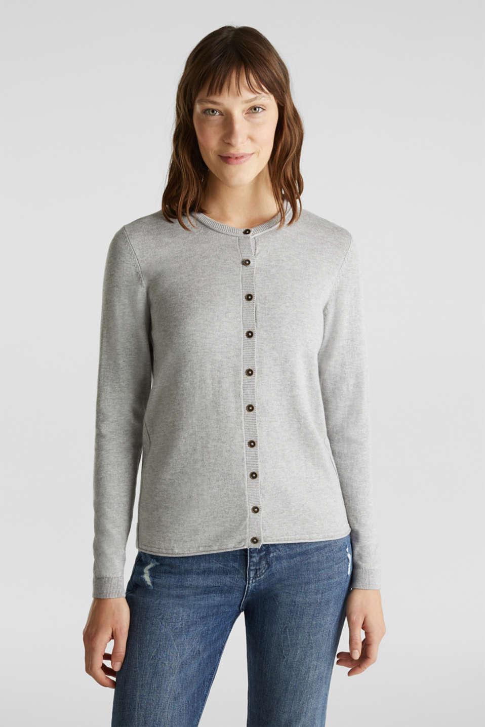 Basic fine knit cardigan, LIGHT GREY 5, detail image number 0
