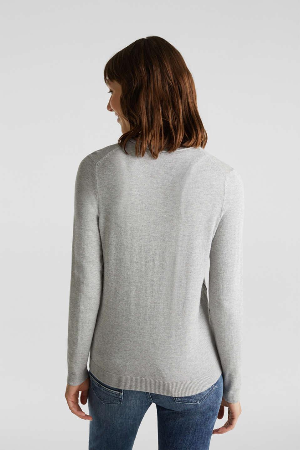 Basic fine knit cardigan, LIGHT GREY 5, detail image number 3