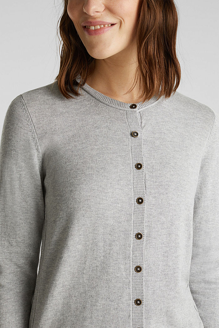 Basic-Cardigan aus Feinstrick, LIGHT GREY, detail image number 2