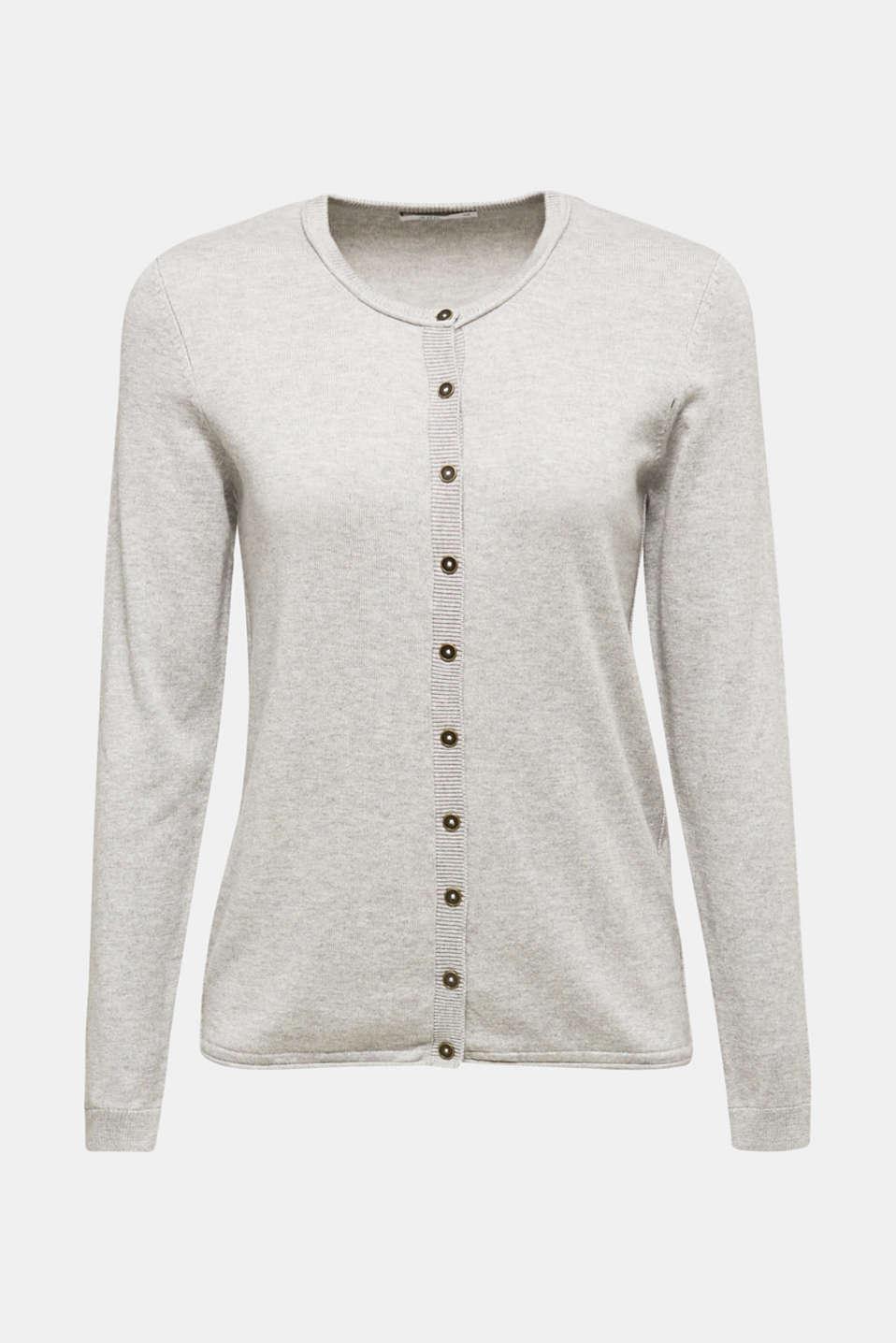 Basic fine knit cardigan, LIGHT GREY 5, detail image number 6