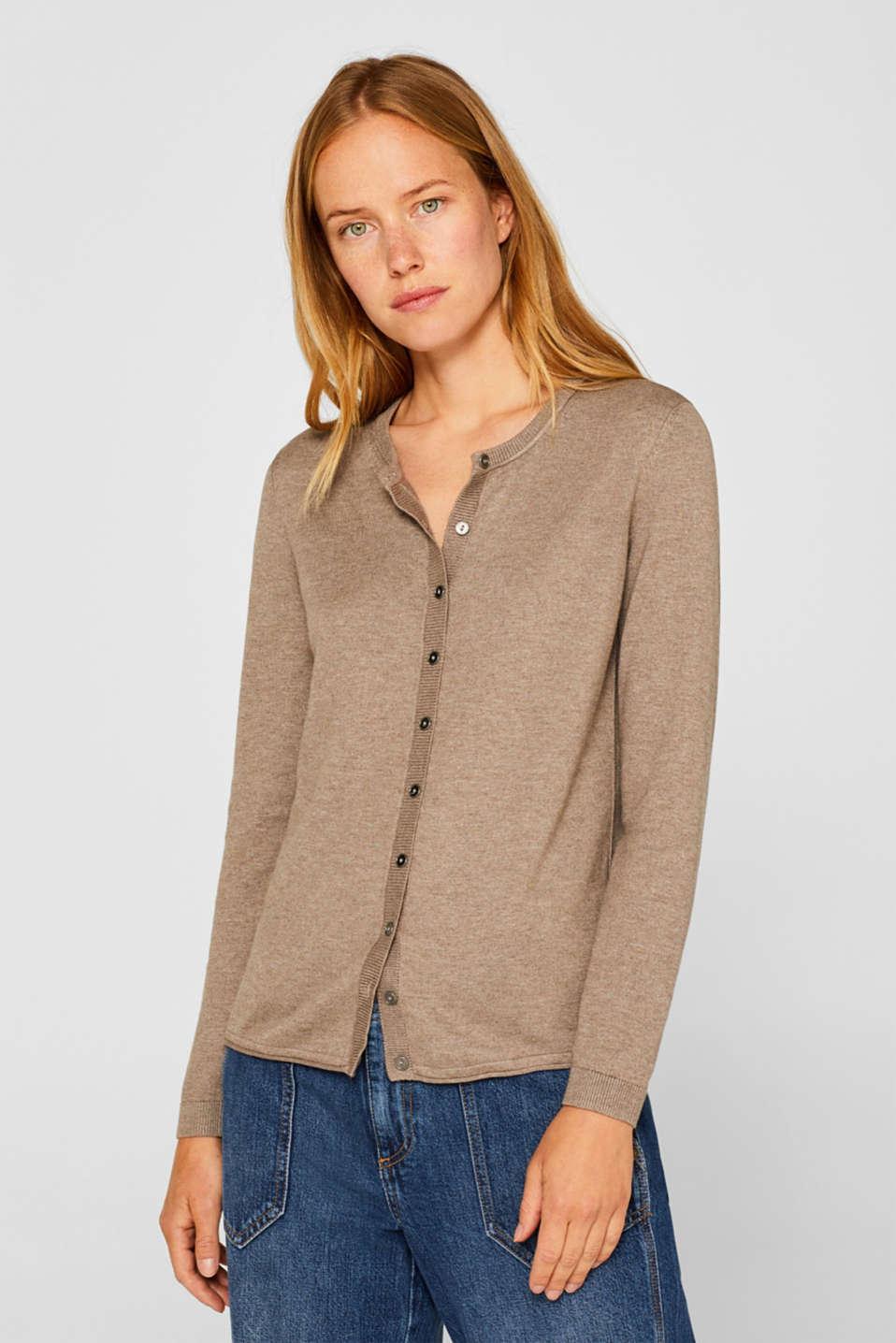 Basic fine knit cardigan, TAUPE 5, detail image number 0