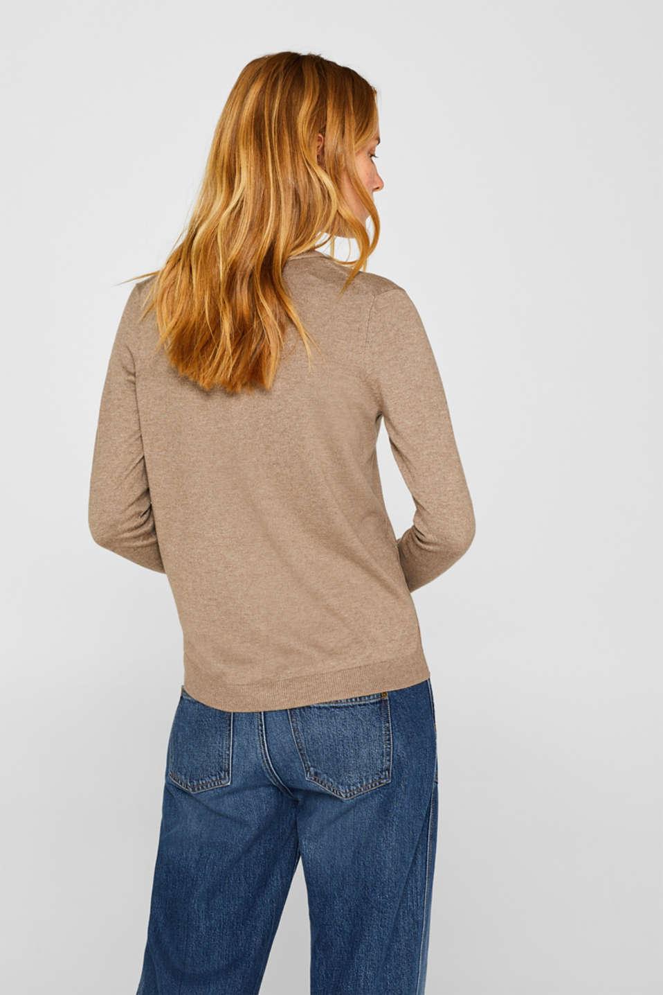 Basic fine knit cardigan, TAUPE 5, detail image number 3