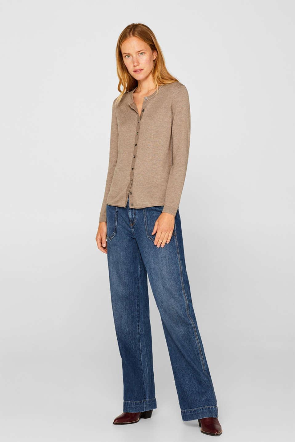 Basic fine knit cardigan, TAUPE 5, detail image number 5