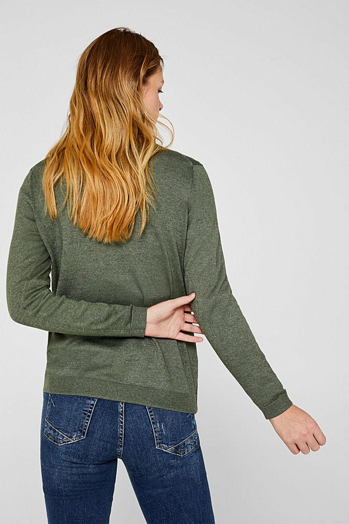 Basic fine knit cardigan, KHAKI GREEN, detail image number 3