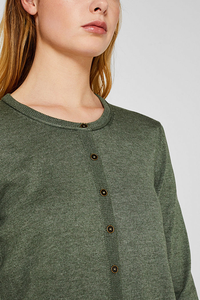 Basic fine knit cardigan, KHAKI GREEN, detail image number 2