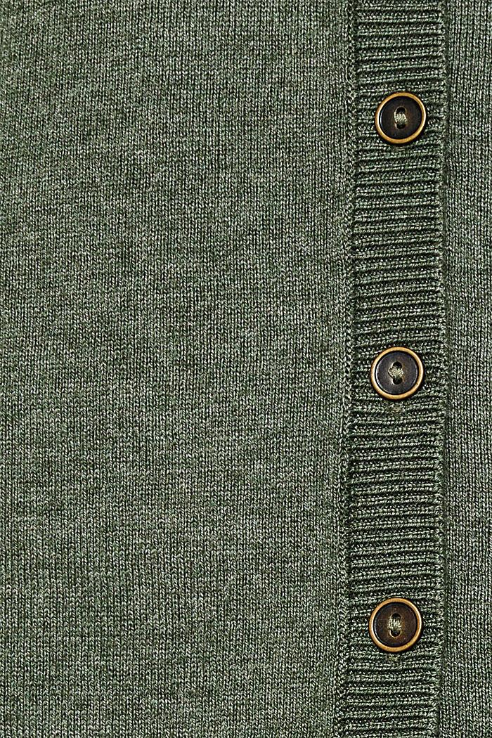 Basic fine knit cardigan, KHAKI GREEN, detail image number 4