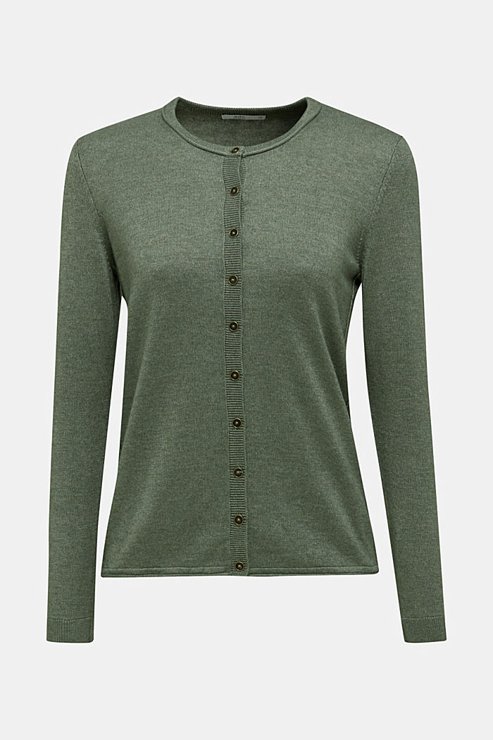 Basic fine knit cardigan, KHAKI GREEN, detail image number 6