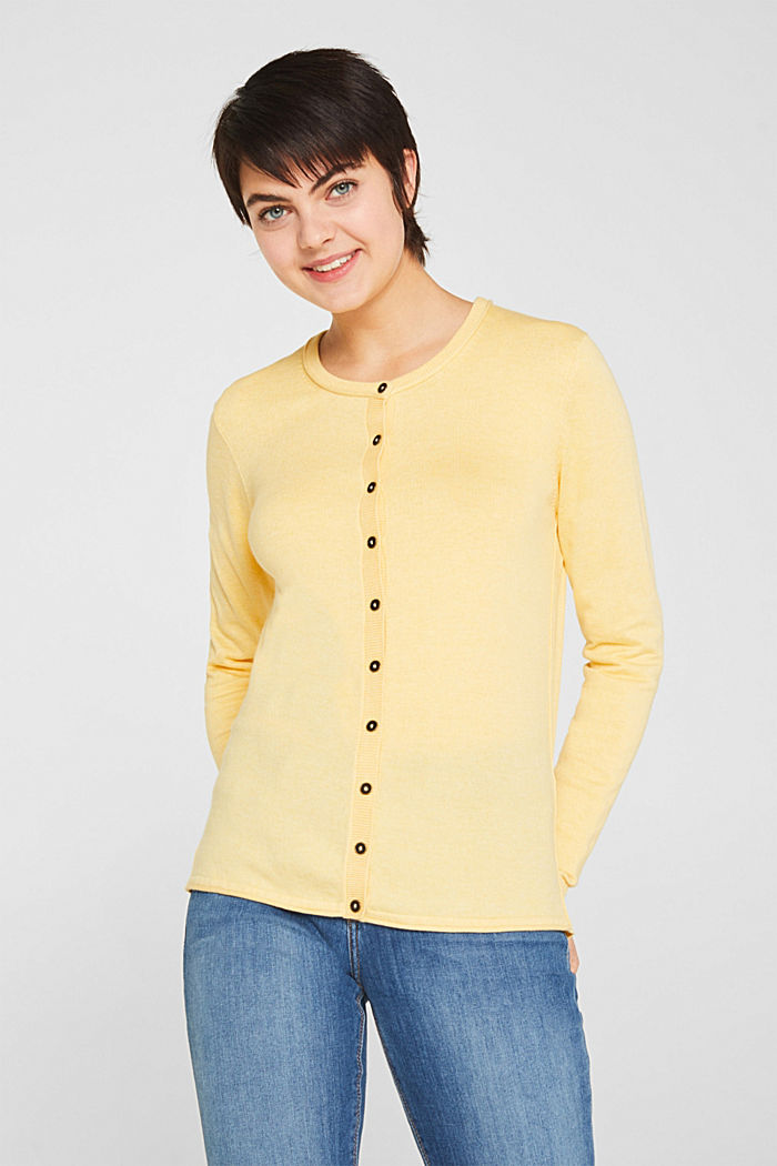 Basic fine knit cardigan, YELLOW, detail image number 0