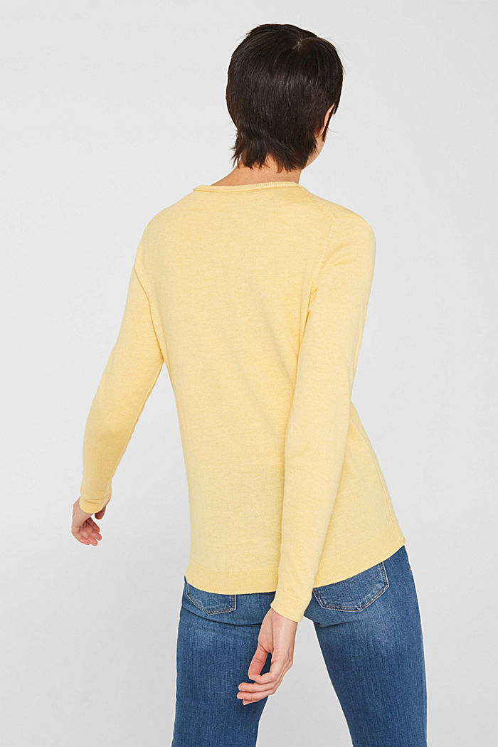 Basic fine knit cardigan, YELLOW, detail image number 3