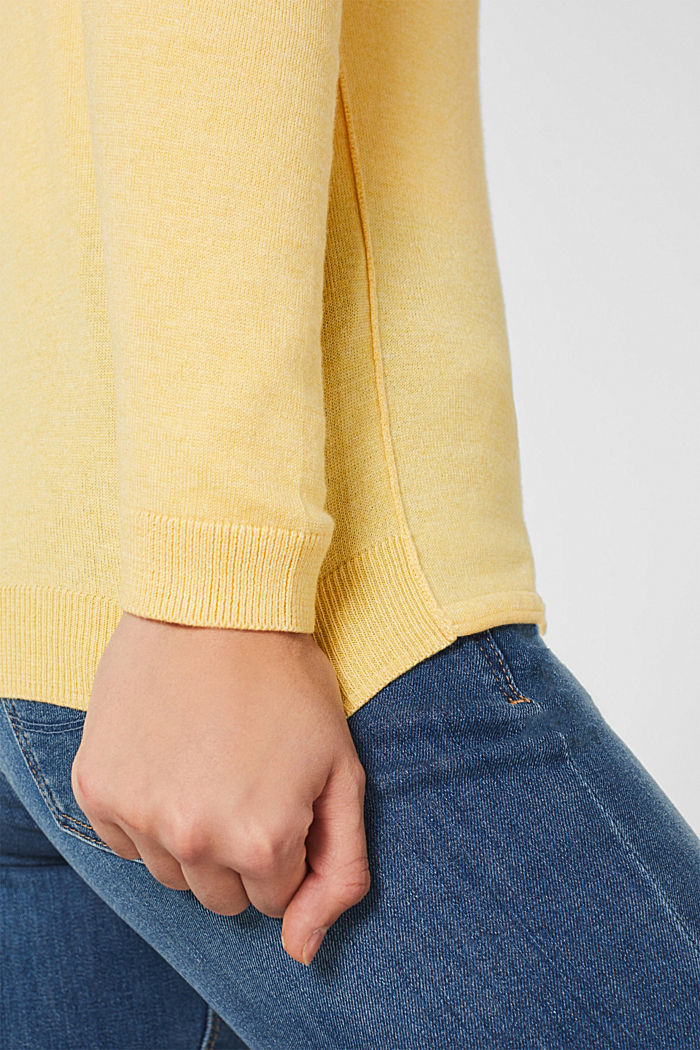Basic fine knit cardigan, YELLOW, detail image number 2