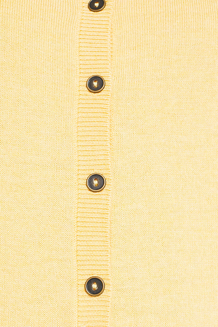 Basic fine knit cardigan, YELLOW, detail image number 4