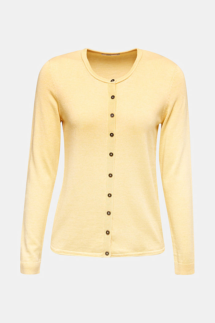 Basic fine knit cardigan, YELLOW, detail image number 6