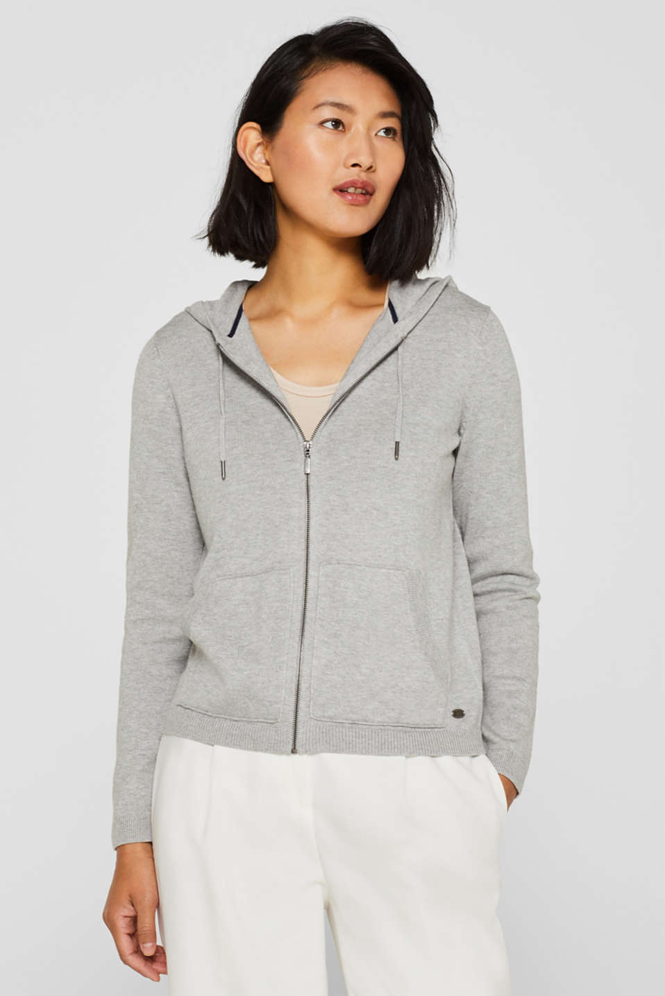 Hooded cardigan with organic cotton, LIGHT GREY 5, detail image number 0