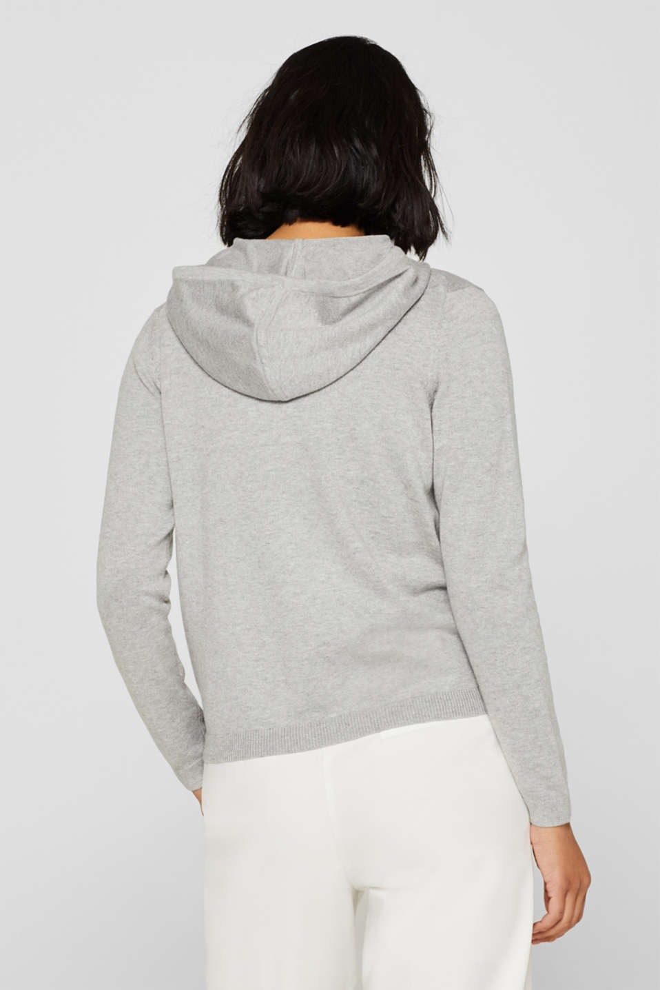 Hooded cardigan with organic cotton, LIGHT GREY 5, detail image number 3