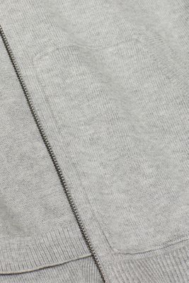 Hooded cardigan with organic cotton, LIGHT GREY 5, detail