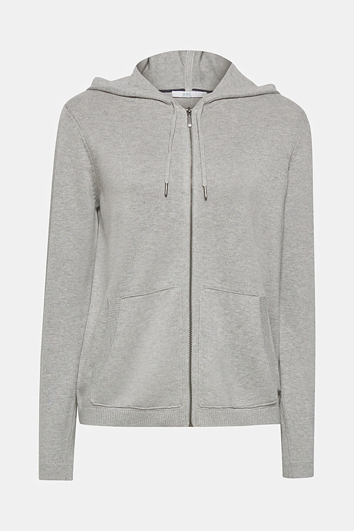 Cardigan with a hood, LIGHT GREY, detail image number 0