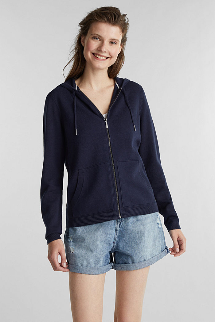 Cardigan with a hood, NAVY, detail image number 0