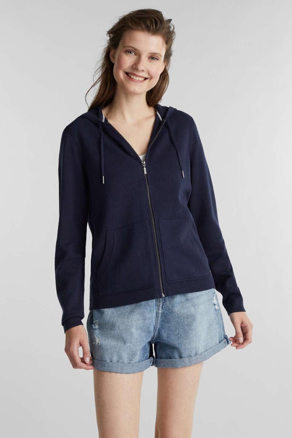 Hooded cardigan with organic cotton, NAVY, detail image number 0