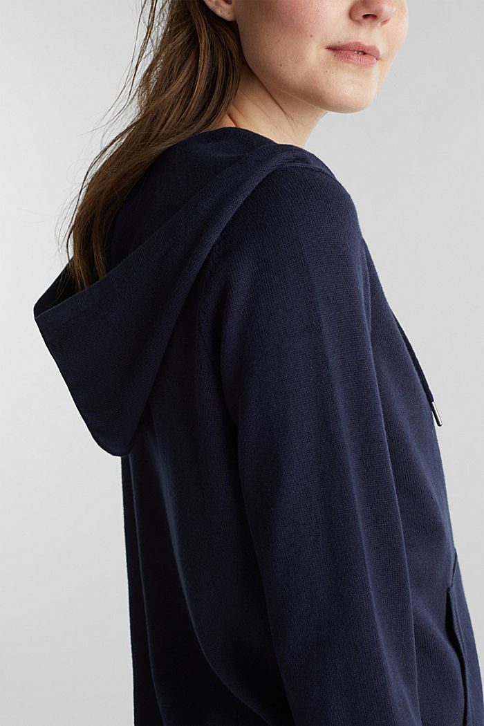 Cardigan with a hood, NAVY, detail image number 5
