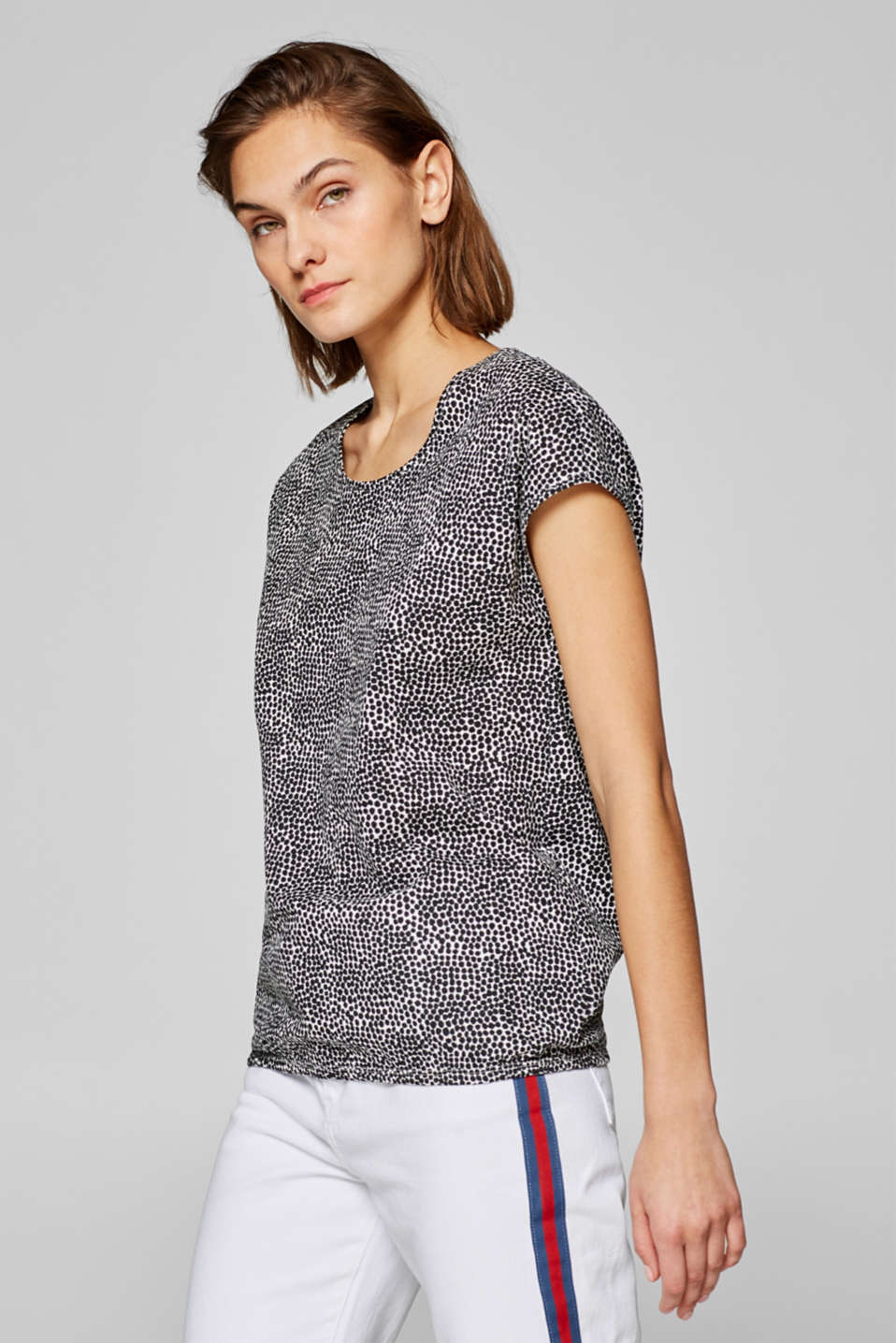 edc - Printed top with an elasticated waistband, 100% cotton