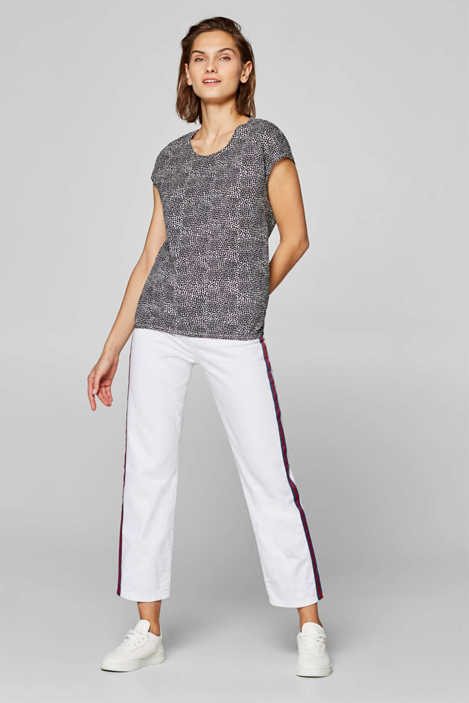 Printed top with an elasticated waistband, 100% cotton, OFF WHITE, detail image number 1