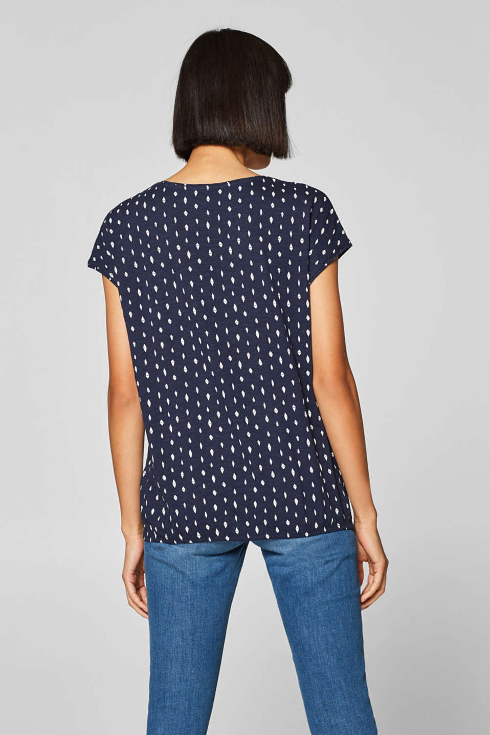 Printed top with an elasticated waistband, 100% cotton, NAVY, detail image number 3