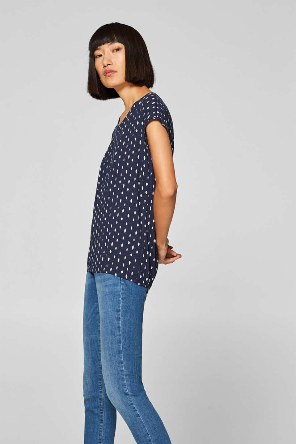 Printed top with an elasticated waistband, 100% cotton, NAVY, detail image number 5