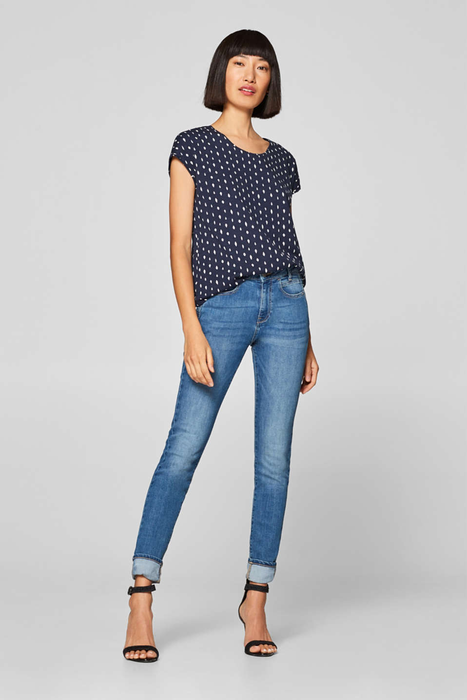 Printed top with an elasticated waistband, 100% cotton, NAVY, detail image number 1