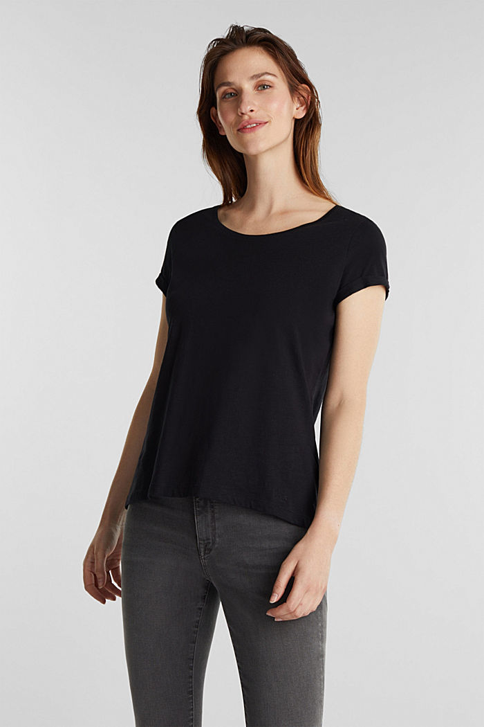 Basic shirt met organic cotton, BLACK, detail image number 0