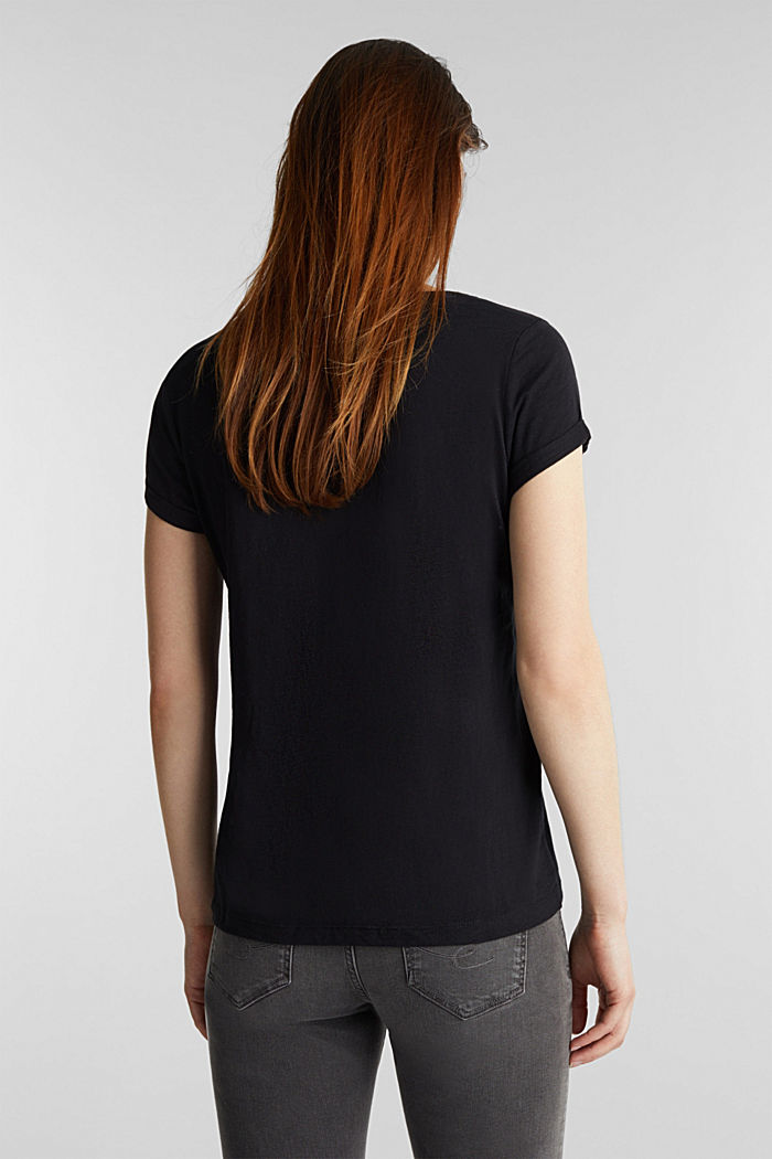 Basic top with organic cotton, BLACK, detail image number 3