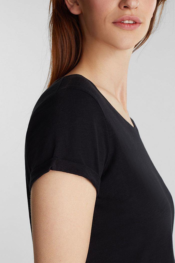 Basic top with organic cotton, BLACK, detail image number 2