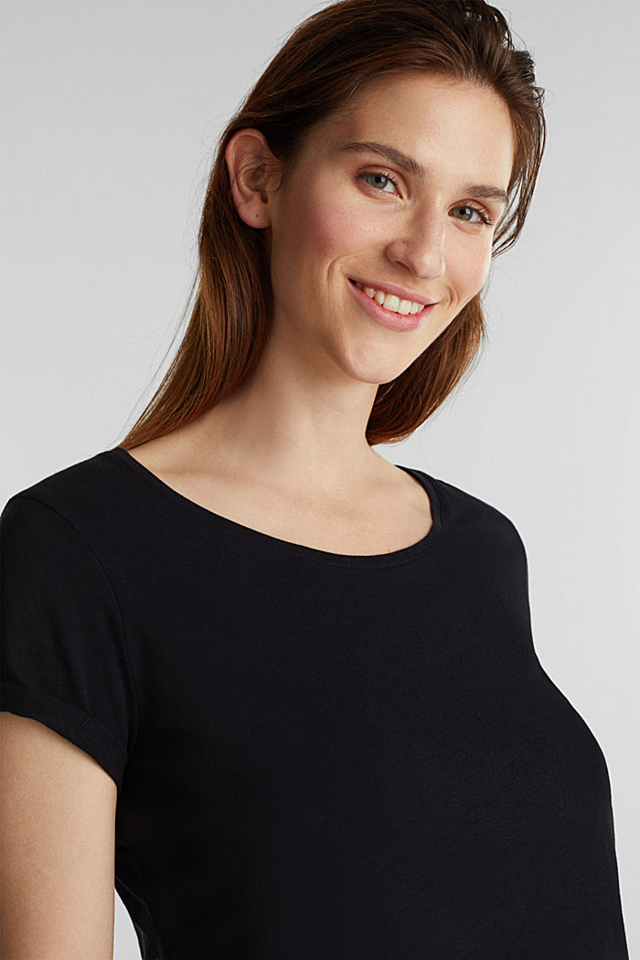 Basic top with organic cotton, BLACK, overview