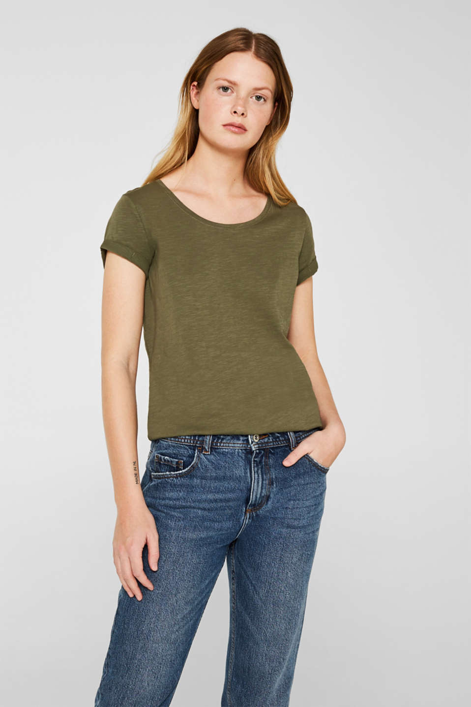 T-shirt containing organic cotton, KHAKI GREEN, detail image number 0