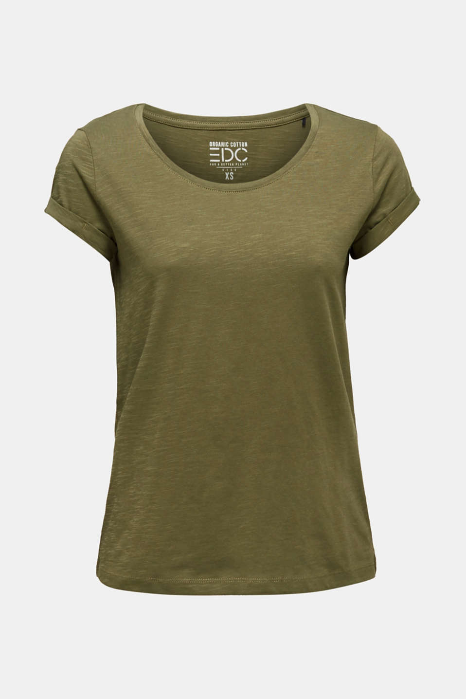 T-shirt containing organic cotton, KHAKI GREEN, detail image number 6