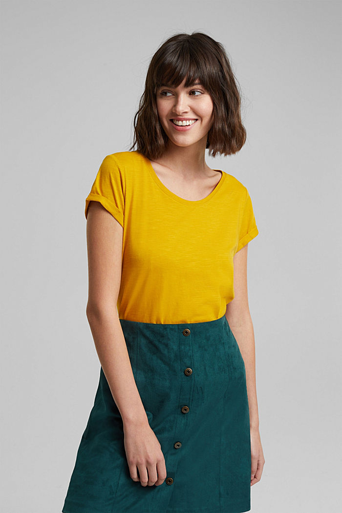 Basic-Shirt mit Organic Cotton, BRASS YELLOW, overview
