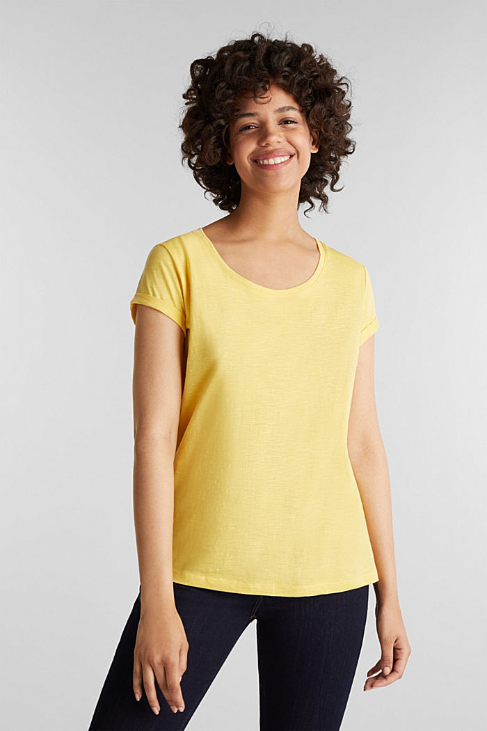 Basic top with organic cotton, LIGHT YELLOW, detail image number 0