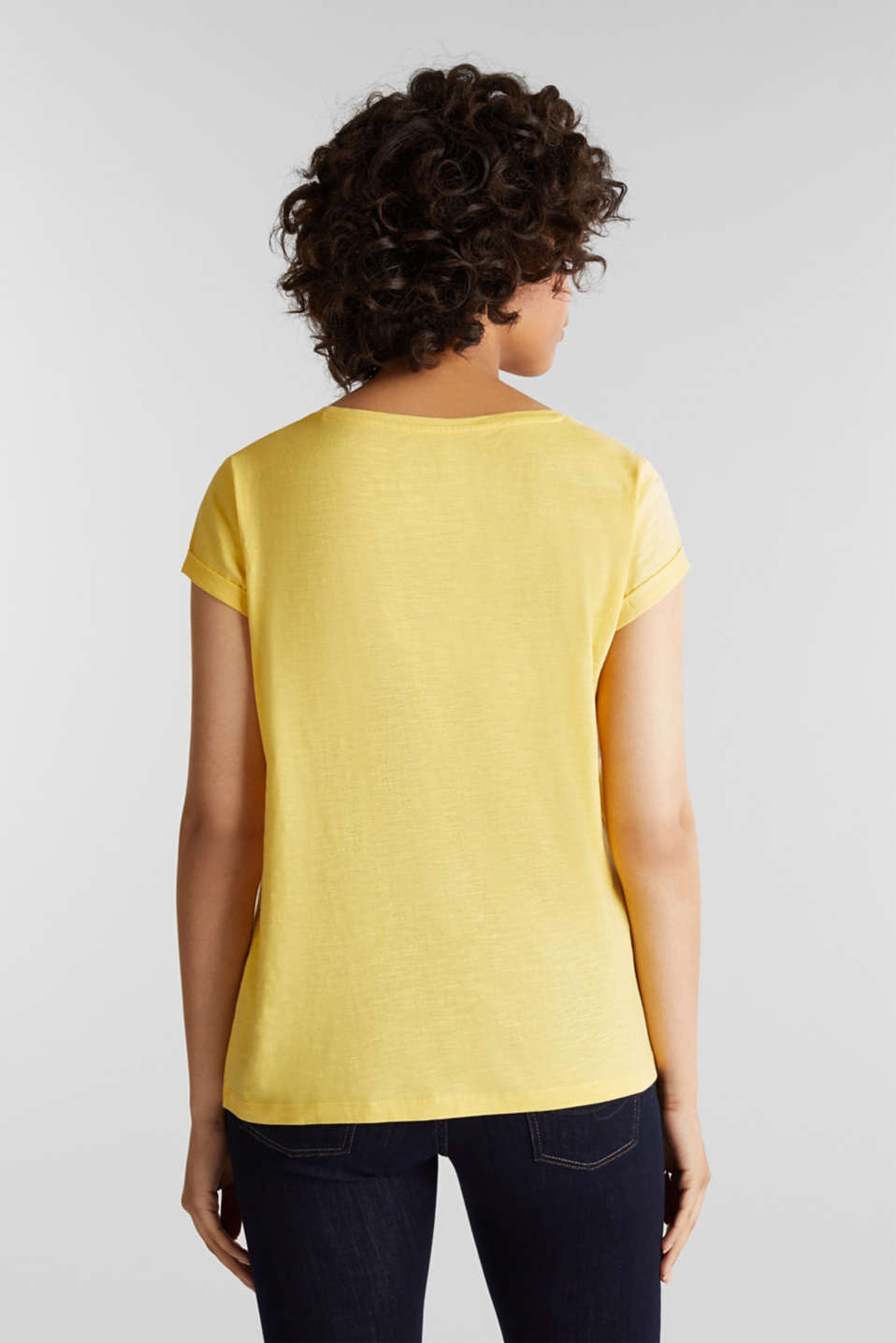 T-shirt containing organic cotton, LIGHT YELLOW, detail image number 3